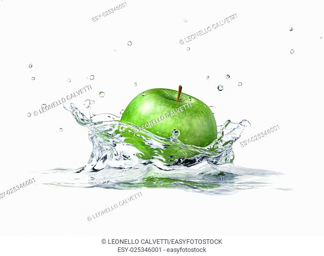 Green apple splashing into water. close up side view, with depth of field. 3 D digital rendering, on white background