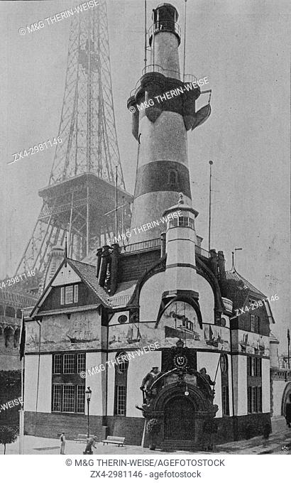 German Pavilion, Bremen Lighthouse, Eiffel Tower behind, Universal Exhibition 1900 in Paris, Picture from the French weekly newspaper l'Illustration
