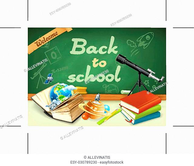 Welcome back to school. Studying and teaching, research and knowledge, green chalkboard with sketches