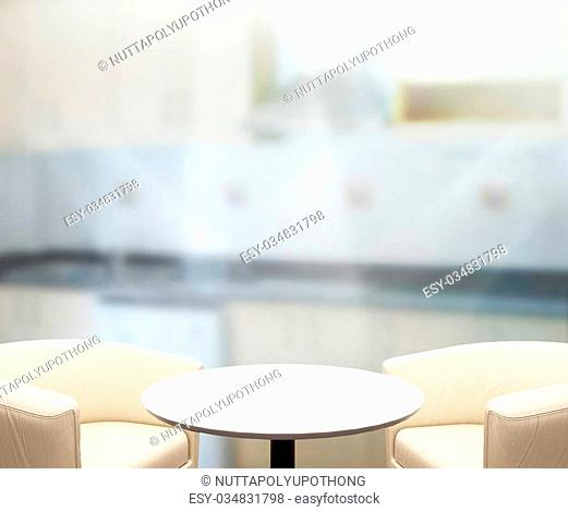 Table Top And Blur Interior of the Background