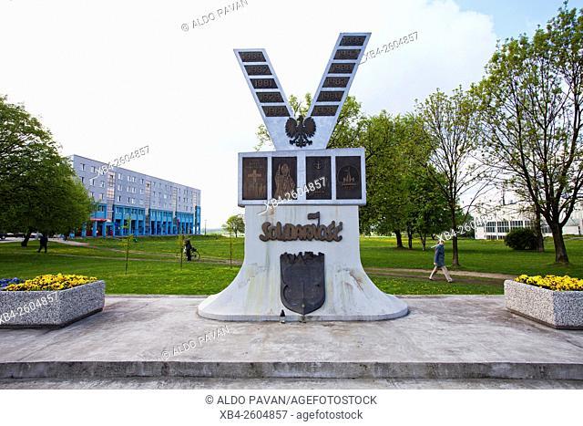 Solidarnosc monument, Plac Centralny, Nova Huta district, Krakow, Poland