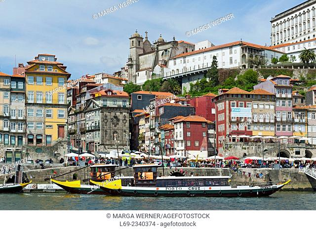 View on the old town of Porto at river Douro with Episcopal Palace and Cathedral, Portugal, Europe