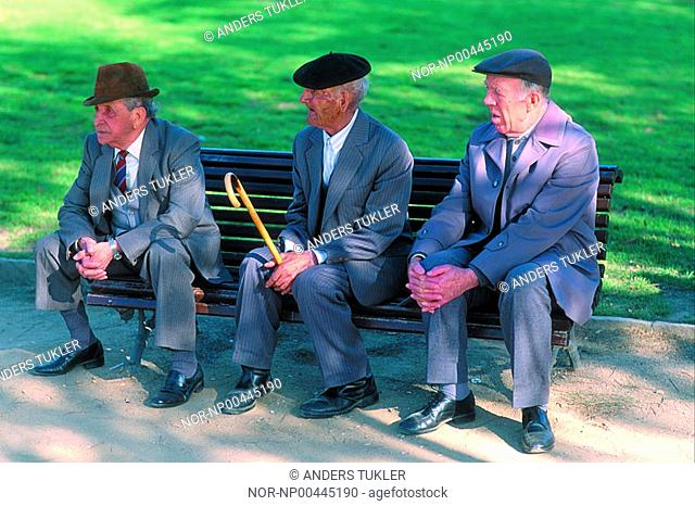 Group of senior people sitting on the bench in the park