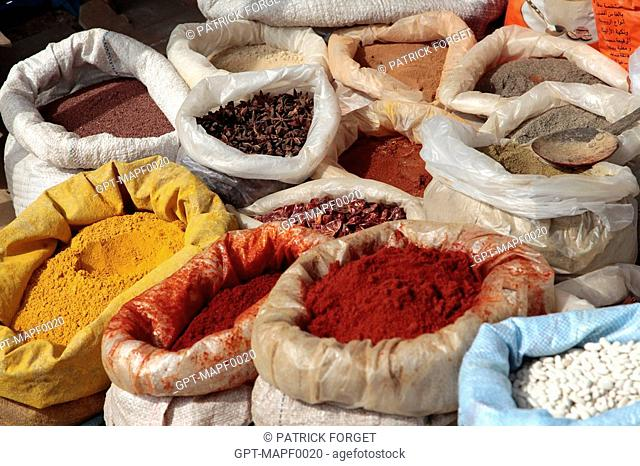 BAGS OF SPICES STAR ANISE, PAPRIKA, CUMIN, CHILIES, SAFFRON, RAS-EL-HANOUT, CINNAMON, GINGER... IN THE BERBER MARKET OF TAHANAOUTE, AL HAOUZ, MOROCCO