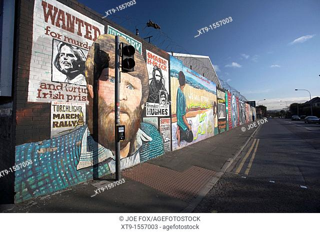 International wall, Falls road, Belfast, Northern Ireland, UK  This long wall of murals became known as International Wall as each mural depicts a scene of...