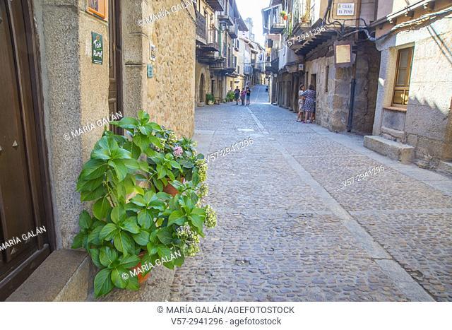 Cobbled street. Miranda del Castañar, Sierra de Francia Nature Reserve, Salamanca province, Castilla Leon, Spain