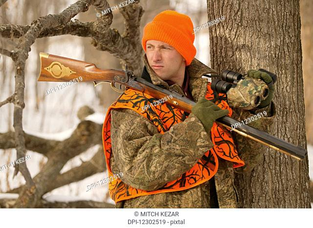 Male Grouse Hunter In Winter