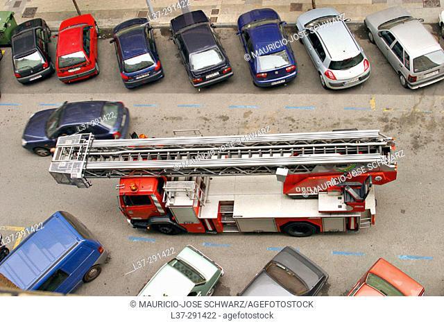 Fire truck seen from above