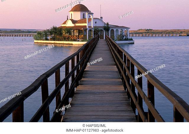 Porto Lagos, Agios Nikolaos Monastery, built on small islet in Vistonida lake, Xanthi, Thrace, Greece