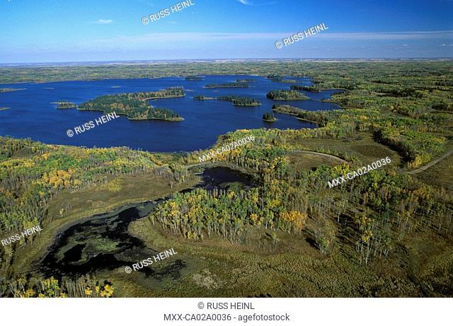 aerial view of Elk Island Park, Alberta