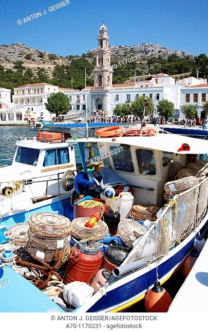 Fishingboat at the harbour , panormitis island , greece