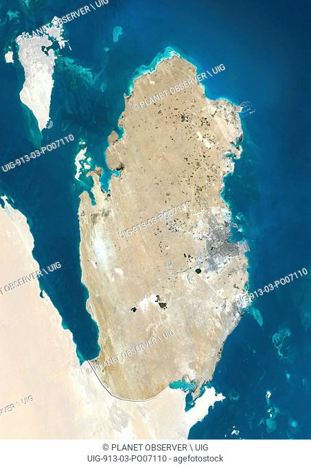 Satellite view of Qatar (with country boundaries and mask). This image was compiled from data acquired by Landsat 8 satellite in 2014