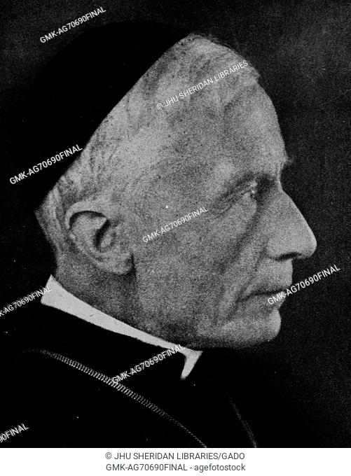 Head-shot of Cardinal James Gibbons, a Baltimore archbishop, wearing religious attire including the hat and robe, with a serious facial expression