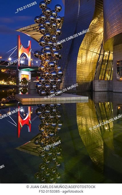 Guggenheim Museum Bilbao. Museum of modern and contemporary art designed by Canadian-American architect Frank Gehry. Nervion river, Bilbao, Bizkaia