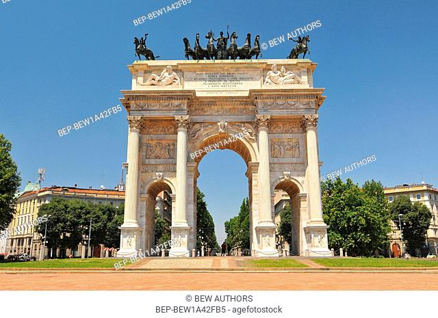 View of the Arch of Peace, Milano, Italy