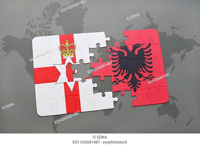 puzzle with the national flag of northern ireland and albania on a world map background. 3D illustration