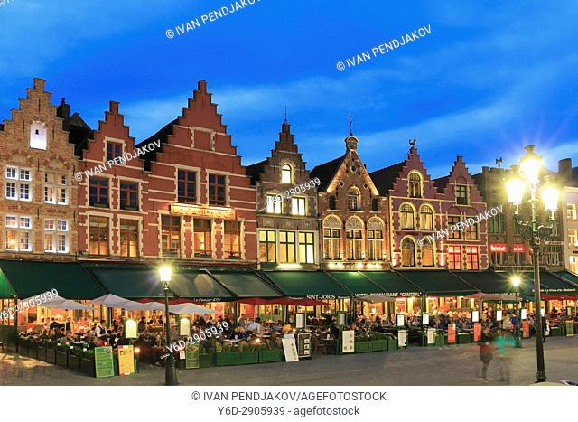 Flemish Houses on Market Square at Dusk, Bruges, Flanders, Belgium