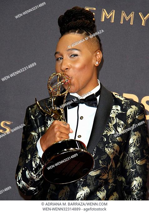 69th Emmy Awards 2017 Press Room held at the Microsoft Theatre L.A. LIVE in Los Angeles, California. Featuring: Lena Waithe Where: Los Angeles, California