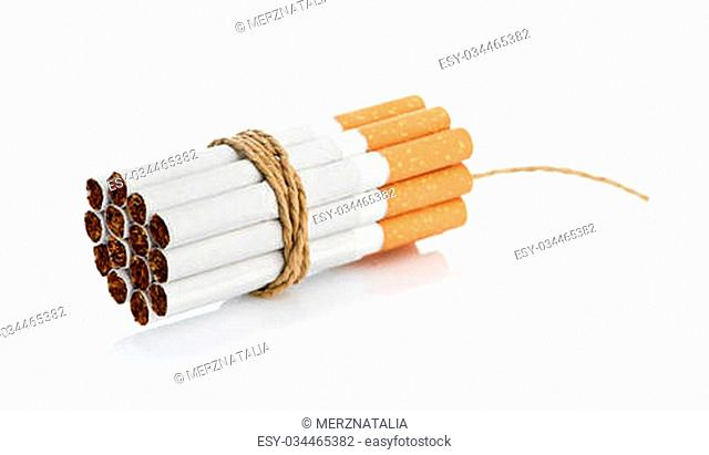Cigarettes tied with rope and wick isolated on white