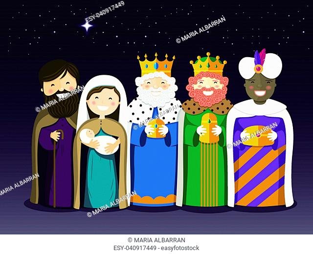 The Three Kings and Holy Family on the Epiphany day. Vector ilustration