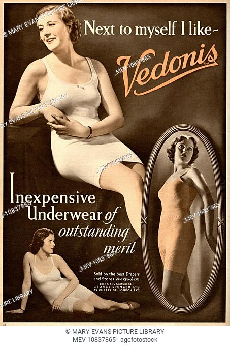 4fbbabcfed31 Advertisement for womens undergarments. 'Next to myself I Like- Vendonis'.  Models wearing sporty underwear made of wool