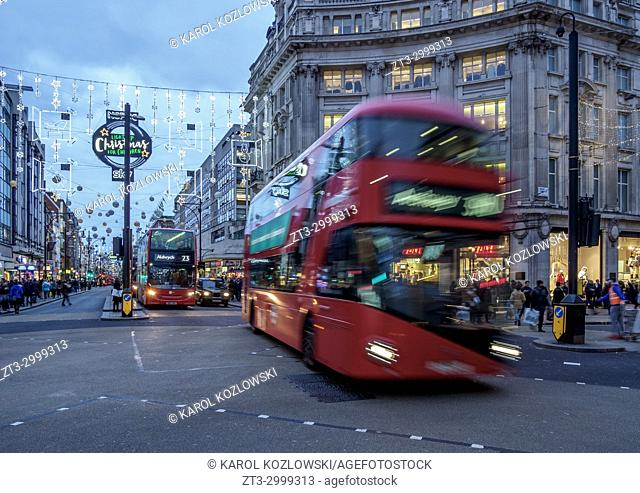Oxford Circus at twilight, London, England, United Kingdom