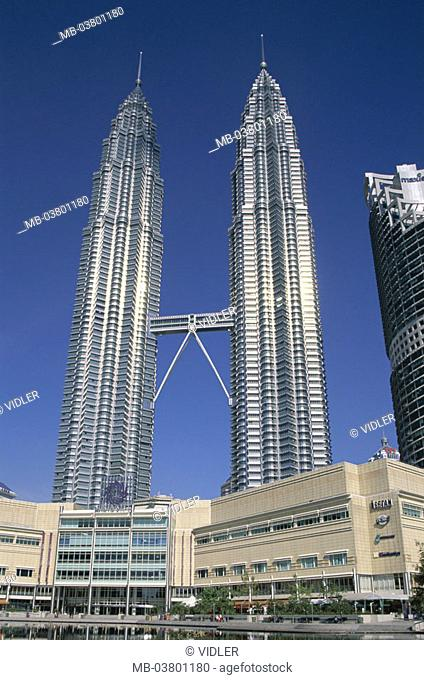 Malaysia, Kuala Lumpur, Petronas Twin towers, detail,  Asia, southeast Asia, capital, city center, skyscrapers, skyscrapers, towers, twin towers, connection