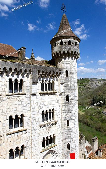 View of Basilica of St-Sauveur with turret in Rocamadour, France