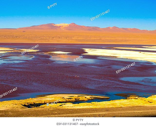 Laguna Colorada or Red Lagoon and typical brown mountains in bacground,, Reserva Nacional de Fauna Andina Eduardo Avaroa, Cordillera de Lipez, Bolivia