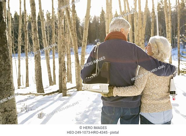 Rear view of couple walking through forest in winter