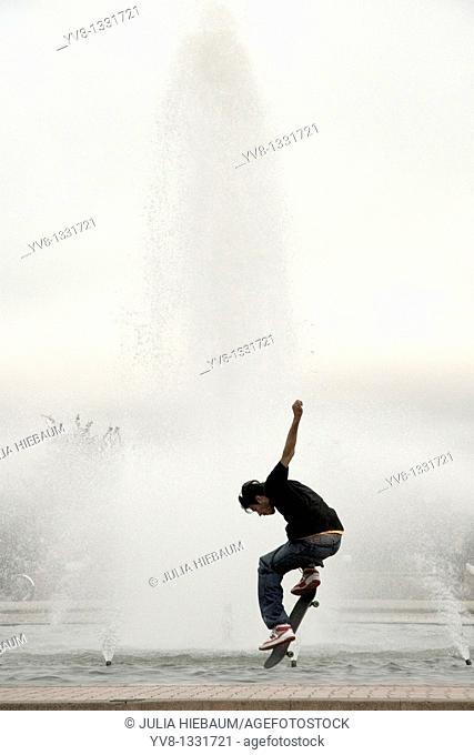 Skateboarder in Balboa park, San Diego, California