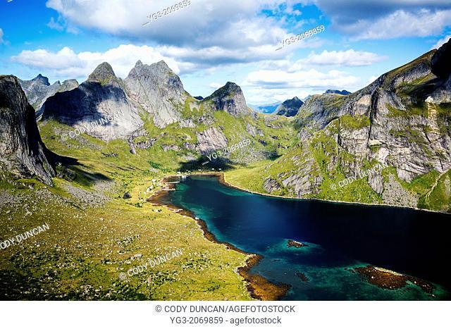 View towards Kjerkfjorden and mountains of Moskenesoy, Lofoten Islands, Norway