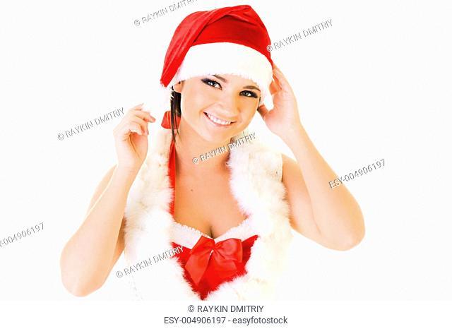 Beautiful woman in santa masquerade costume