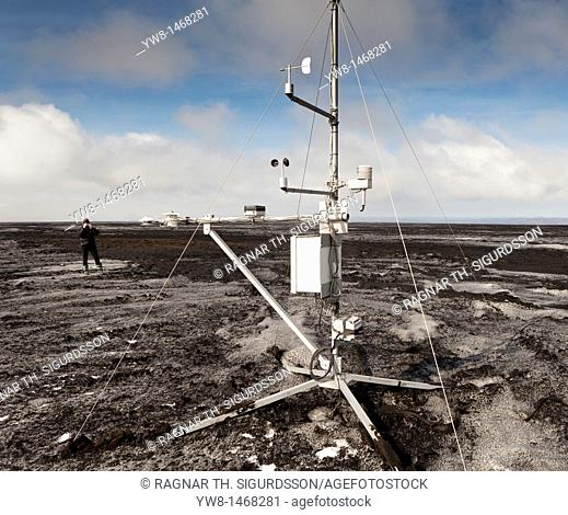 Weather station placed on ashfall from Grimsvotn volcanic eruption, Iceland approx  45 kilometers from the crater  The eruption began on May 21