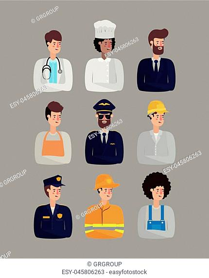 group of workers avatars characters vector illustration design