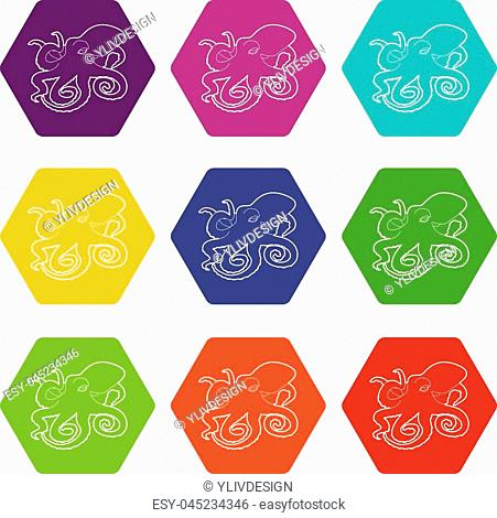 Octopus icons 9 set coloful isolated on white for web