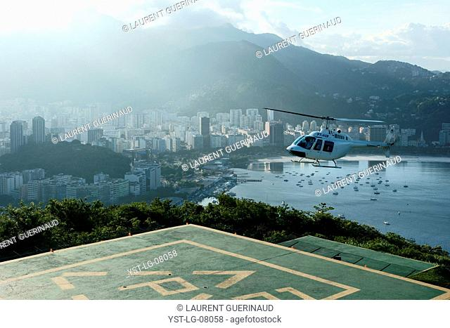 Heliport, Bread Sugar, View Botafogo, City, Rio de Janeiro, Brazil