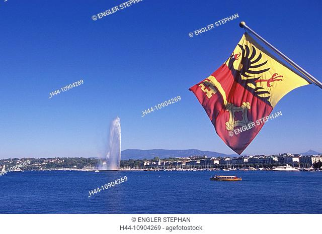 Switzerland, Europe, Genève, Geneva, Lac Léman, lake Geneva, lake, town, city, canton, Jet d'eau, fountain, flag, ship, panorama, scenery