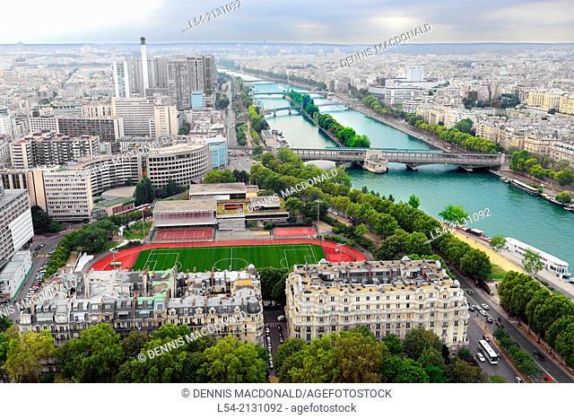 Panorama Seine River Paris France City of Lights Europe FR Eiffel Tower
