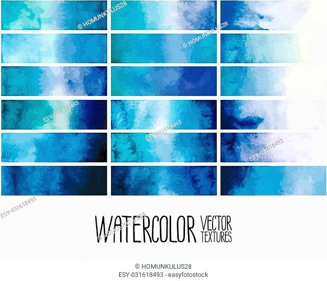 Blue watercolor gradient rectangles. Design elements isolated on white background