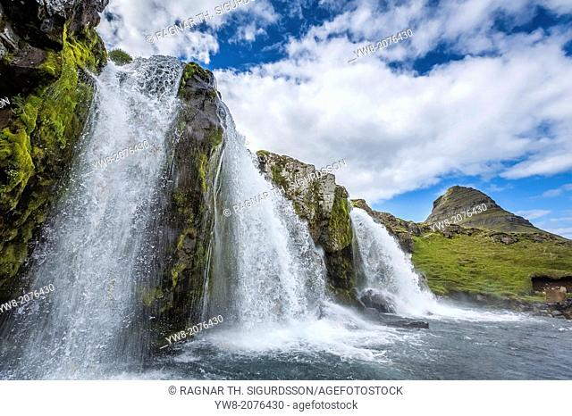 Kirkjufellsfoss Waterfalls, (Church Mountain Falls) Grundarfjordur, Snaefellsnes Peninsula, Iceland
