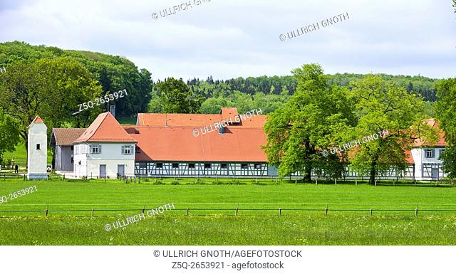 Old barn buildings and foal stables of the Marbach State Stud of Wurttemberg in the village of St. Johann near Reutlingen, Wurttemberg, Germany