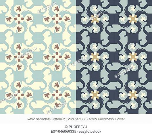 Retro Seamless Pattern Spiral Geometry Flower