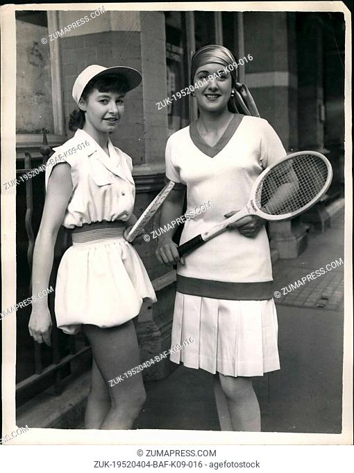 Apr. 04, 1952 - Contrast-in in sports styles. The 1952 'Bloomer Suit' and the 1927 Equivalent: Many new styles were to be seen contrasted with their old time...