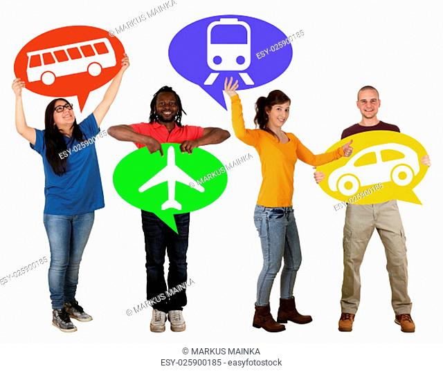 group of young people holding balloons with selection bus,train,car or plane cut