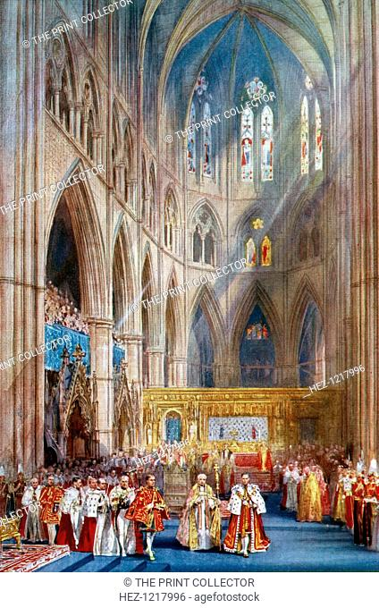 'The Recognition', George VI's coronation ceremony, Westminster Abbey, London, 12 May 1937. A coloured plate from the Illustrated London News: Coronation Record...