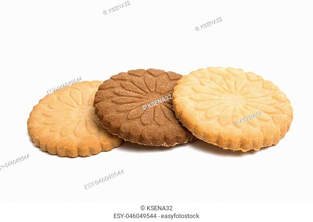 butter cookies isolated on white background