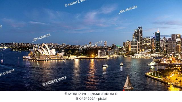 Circular Quay and The Rocks at dusk, skyline with Sydney Opera House, Opera, Financial District, Banking District, Sydney, New South Wales, Australia