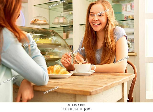 Friends in cafe smiling