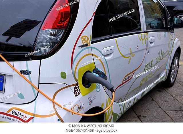 Electric car, charging station for electric vehicles, Milan, Milano, Lombardy, Italy, Europe